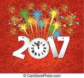 2017 Happy New Year with clock and fireworks background