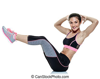 woman fitness exercises isolated - one mixed raced woman...