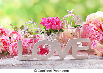 romantic vintage love background with flowers - romantic...