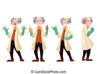 Mad professor in lab coat and green rubber gloves, cartoon...