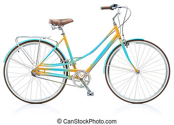 Stylish womens blue and yellow bicycle isolated on white...
