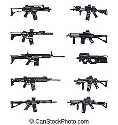 assault rifles set - Modern illustration of various assault...