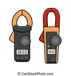 Digital Current Clamp Meter. Electrician power tools. Vector...