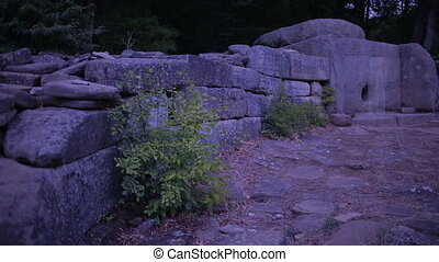Ghost in the ancient ruins. dolmens. ghost of a woman...