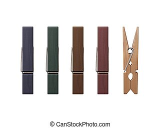 Set of Wooden Clothespins Pegs Different Color