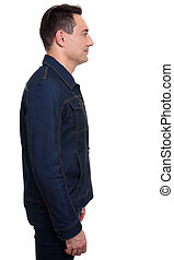 Handsome casual man standing in denim jacket, Isolated