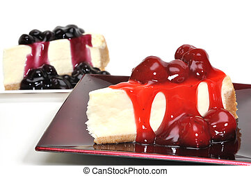 Strawberry and Blueberry Cheesecake Isolated - Strawberry...