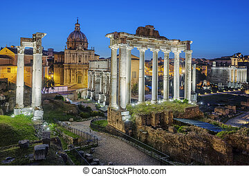 Famous Ruins of Forum Romanum on Capitolium hill in Rome,...