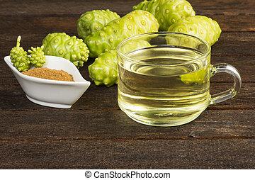 Noni fruit and noni juice with noni