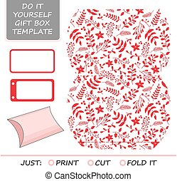 Christmas vector gift packaging template. Favor, gift box...
