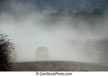 Vehicles in the dust