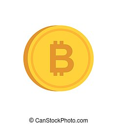 Gold coin with bitcoin sign icon, flat style