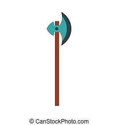 Medieval battle ax icon, flat style - icon in flat style on...