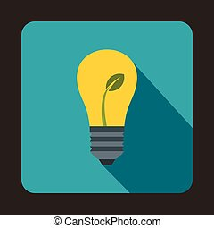 Light bulb with sprout icon, flat style