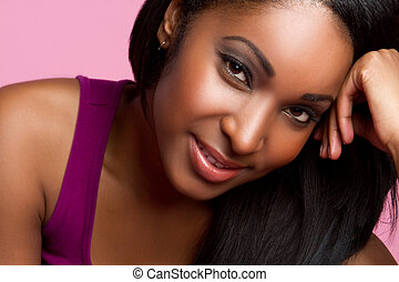 Smiling Black Woman - Beautiful smiling black woman closeup
