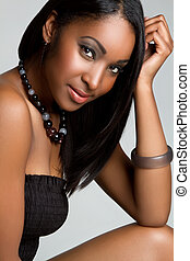 Smiling Black Girl - Beautiful smiling black girl closeup