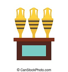 Three egyptian vases icon, flat style - icon in flat style...