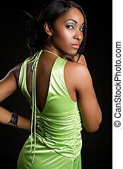 Sexy Black Woman - Sexy green dress black woman