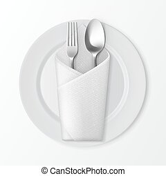 Plate with Silver Fork and Spoon Table Setting - Vector...