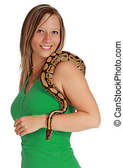 woman holding a snake - cute blond woman holding a Royal...