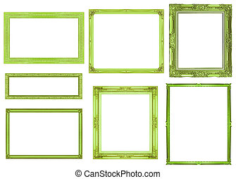 collection green frame isolated on white background, clipping path