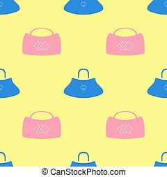 Seamless Womens Handbag Pattern on Yellow Background.