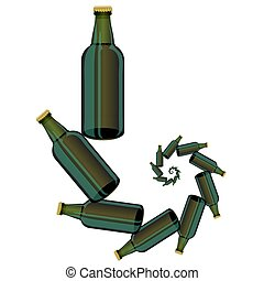 Green Glass Beer Bottles Isolated on White Background.