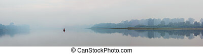 river in fog - panorama - river in fog - morning panorama...