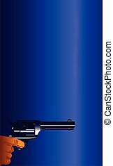 The Smoking Gun - A smoking gun set on a dark blue...