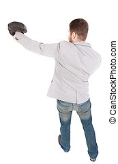 businessman with boxing gloves in fighting stance Top view...