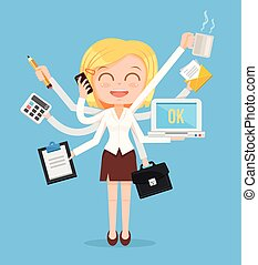 Happy office woman character. Multitasking hard work. Vector...