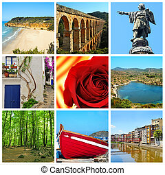 Catalonia collage - a collage of nine pictures of different...