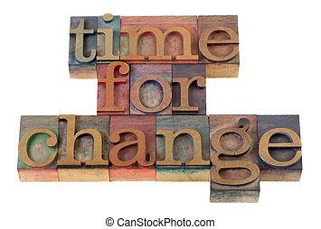 time for change headline words in vintage wooden letterpress...