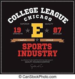 Sport athletic champions college league Chicago logo emblem....
