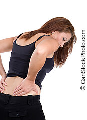 Woman Spinal Injury - Woman bends over in pain rubbing her...