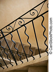 Wrought iron handrail - Close up of a stylish handrail and...