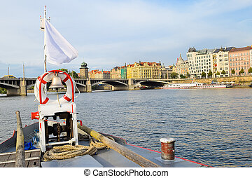 The bridge of the boat on the Vltava river in Prague
