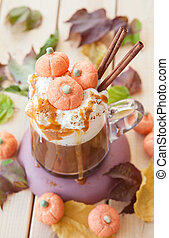 Pumpkin spice Caffe latte - Pumpkin spice latte with whipped...