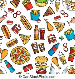 Fast food snacks and beverages seamless background - Fast...