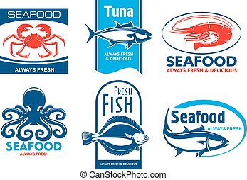 Seafood restaurant and product icons - Seafood products tags...