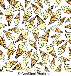 Ice cream waffle cone seamless background