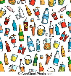 Drinks and bottles seamless background. Wallpaper with...