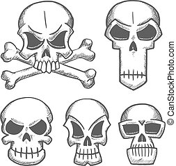 Skulls and craniums with crossbones icons
