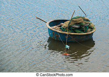 Traditional Vietnamese boat in the basket shaped , Phan...