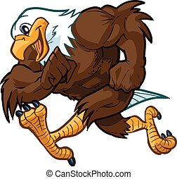 Vector Bald Eagle Mascot Running - Vector cartoon clip art...