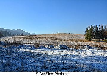 Landscape in Zakopane - Winter mountain landscape in...