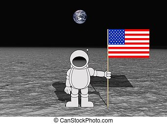 Moon Landing - Illustration of an astronaut holding an...