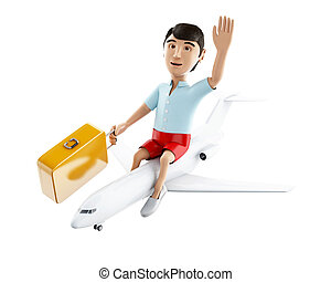 3d people tourist with suitcases. Isolated white background....