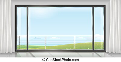 Room with a huge window - Room hotel or house, apartment,...