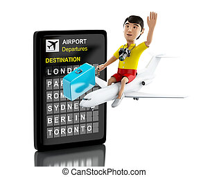 3d people tourist with suitcases and camera - 3d...